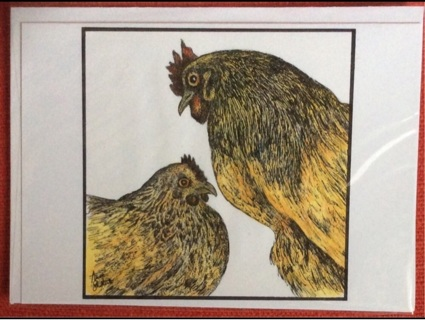 "TWO CHICKENS- 5 x 7"" art card by artist Nina Struthers - GIN ONLY"