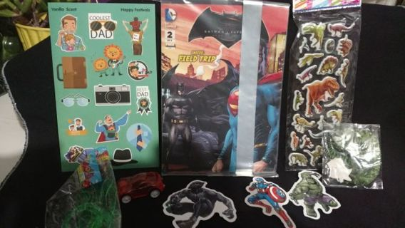 Tiered boys toy car smelly & Dinosaur laptop Hulk stickers batman dc comic,