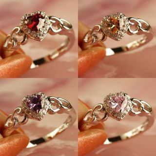 New Ruby Spinel Amethyst Multi Gems Silver Jewelry Ring