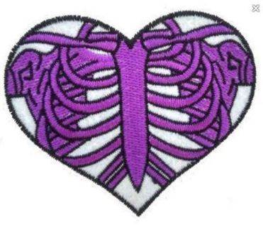 NEW Skeleton Heart IRON ON Patch Purple White Clothing Embroidery Applique FREE SHIPPING