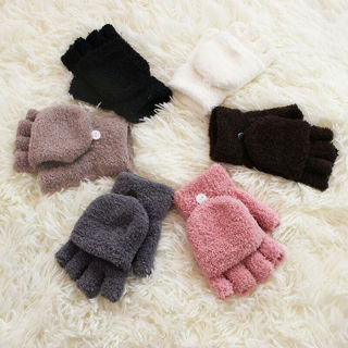 [GIN FOR FREE SHIPPING] Winter Soft Coral Fleece Flip Cover Half Finger Gloves
