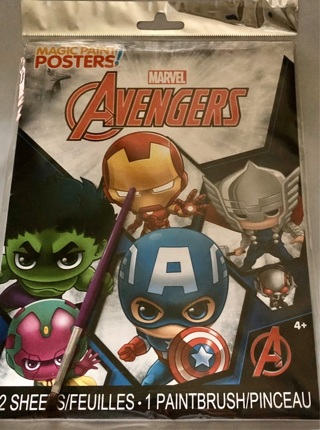 "BNWT: Marvel's ""AVENGERS, Magic Paint Posters. 12 in All. One Paint Brush Included"