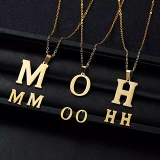 Rinhoo 26 Letters Stainless Steel Gold Color Necklace Earrings for Women