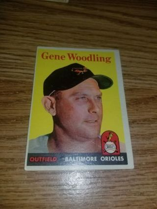 1958 Topps Baseball Gene Woodling #398 Baltimore Orioles,EX condition,Free Shipping!