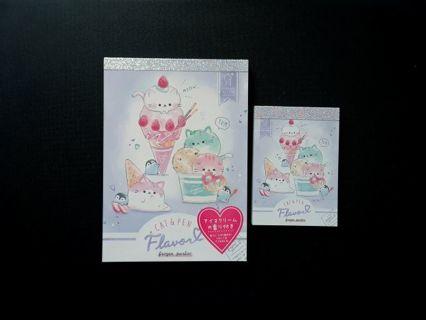 """Q-Lia '2020'~Cat & Pen """"Flavor"""" Memo Pads Lot~1 Large & 1 Mini Memo Pad ☆Nice Kawaii Bonuses☆"""