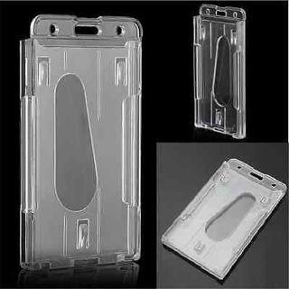 Popular Clear Vertical Hard Plastic Multi Card ID Badge Holder Transparent