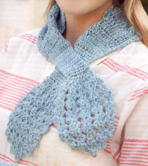 Free: 2 CROCHET PATTERNS...Classic Keyhole Scarf and Cafe Wristers ...