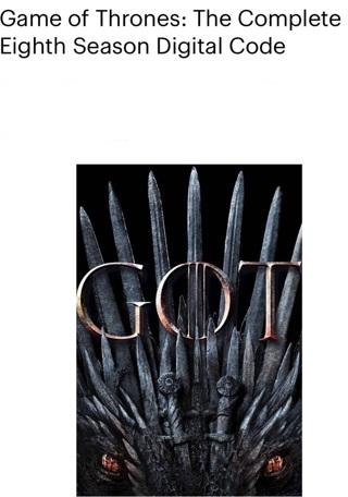 Game of thrones complete 8th season Vudu code hd code