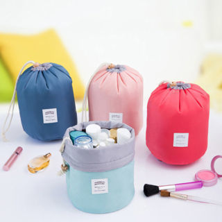 Women Makeup Drawstring Pouch Bucket Barrel Shaped Cosmetic Bag Travel Case