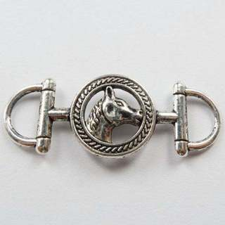 "20PCs Connectors Findings Horse Head Round Silver Tone 4.3cmx1.7cm(1 6/8""x5/8"")"