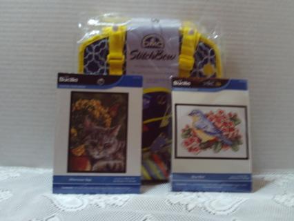 Brand New DMC Stitch Bow Mini Needlework Travel Bag With Two Cross- stitch kits