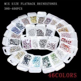 400p mix size Nail Art Rhinestones Glitter Crystal Gems Tips Decoration 46-color