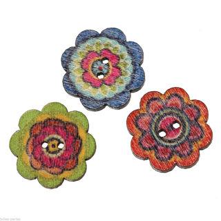 LAST ONES! Cute Flower Power Wooden Buttons