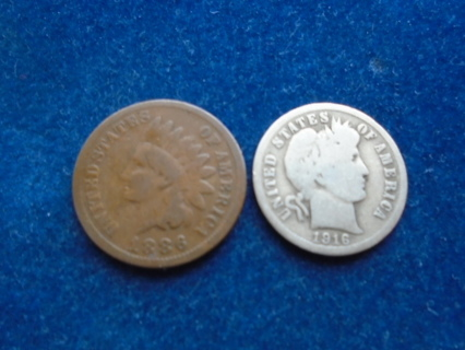 1886 & 1916 OLD U.S. COINS.. FULL BOLD DATES!