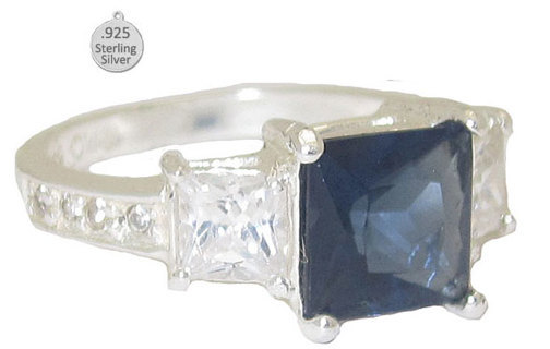 BLUE SAPPHIRE & 925 STERLING SILVER RING Sizes 6-10 NEW VERY SPECIAL RING