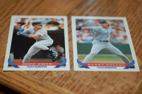 Set of 2 Texas Rangers Baseball Cards, 1993 Topps