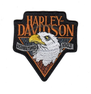 Harley Davidson Logo Motorcycle with Eagle Head Embroidered Iron-on Patch
