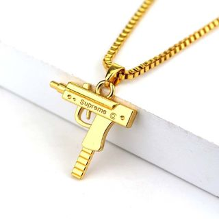 Gun Mens Gold Plated Silver Pendant Chain Hip Hop Punk Necklace