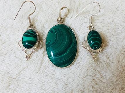 Malachite Pendant & Earrings