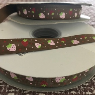 REDUCED Strawberry Chocolate Grosgrain Ribbon 1 Yard, Free Mail