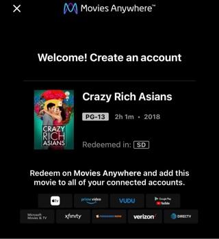 Crazy Rich Asians (2018) Digital MA/Vudu Code