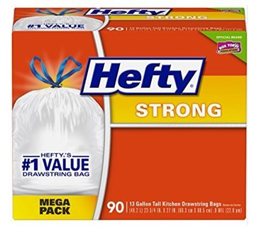 ✔~ Hefty Strong Trash / Garbage Bags (Kitchen Drawstring, 13 Gallon, 90 Count) ~✔