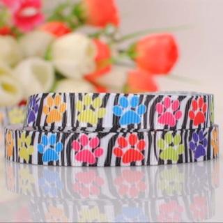 "Rainbow Paw Print on Zebra 3/8"" Grosgrain Ribbon 1 Yard NEW"