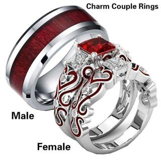 His & Hers Lover Stainless Steel Red CZ Couple Engagement Wedding Band Rings Hot