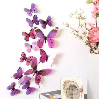 ISHOWTIENDA 12pcs Decal Wall Stickers Home Decorations 3D Butterfly Rainbow  Fridge Magnet 2018 Dr