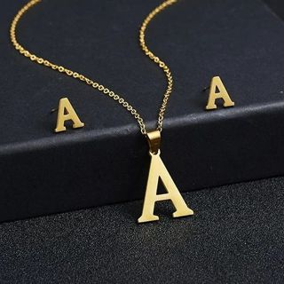 Rinhoo A Letters Stainless Steel Gold Color Necklace Earrings for Women Jewelry Sets