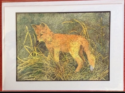 "RED FOX - 5 x 7"" art card by artist Nina Struthers - GIN ONLY"