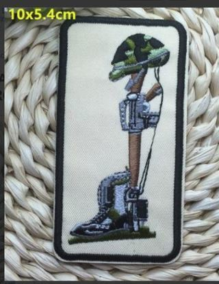 SOLDIER PATCH IRON ON BADGE GUN BOOTS HELMET EMBROIDERED FREE SHIPPING