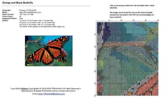 Orange and Black Butterfly Cross Stitch Pattern