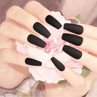 Coffin  fake nails with glue Medium length Ballet Matte Diy Nail Art Tip Accessory 24 PCS black pr