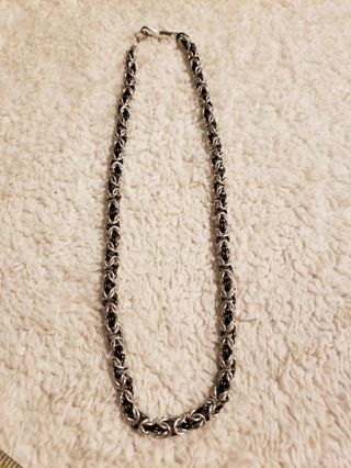 Black And Silver Chainmail Necklace