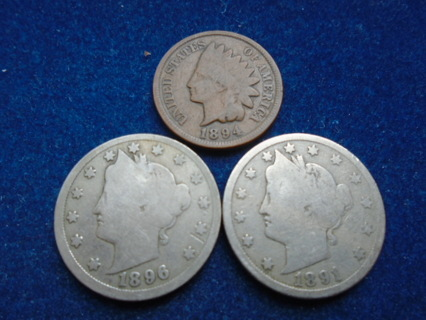 1891 1894 & 1896 OLD U.S. COINS FULL BOLD DATES!