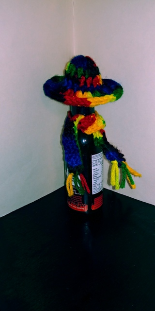 Crochet Hat & Scarf for Hot Sauce Bottle (B-7569) Mexicana