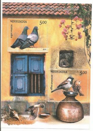 MNH India 2010 Pigeons and Sparrows Souvenir Sheet