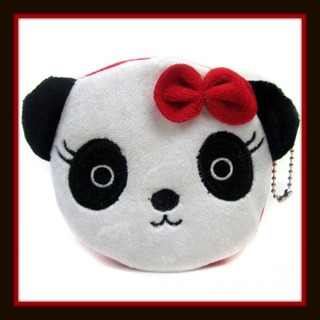 US SELLER! Sweet PANDA LOVE Red BOW Coin Purse Money Bag w/ Zipper and Beaded Key Chain, Brand NEW!