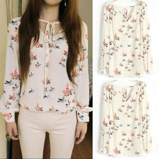 Women Spring/Summer T Shirt Long Sleeve Blouse Chiffon Floral Print V Neck Tops