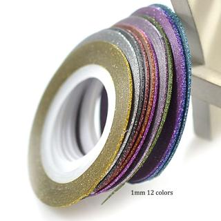 12Rolls/Set 1mm Laser 12 Colors Glitter Striping Tape Line Nail Art Tips Decals Beauty Decoration