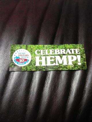 Celebrate hemp! two stickers