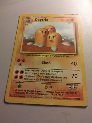 Dugtrio Base Set Pokemon Card Played Condition