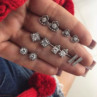 12 Pcs/set Bohemian Fashion Crown Crystal Geometry Rhinestones Silver Earrings Set Wedding Jewelry