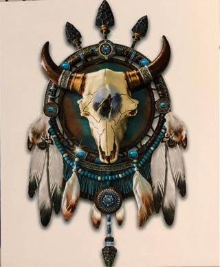 """Dream catcher Bull skull - 3 x 4"""" MAGNET"""