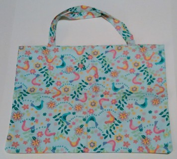 *Pastel Bird/Floral Print Tote Bag - One of a kind, 100% Handmade by Bravissimo Designs!
