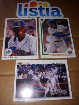 """THE KID"" KEN GRIFFEY JR⭐SEATTLE MARINERS⭐1990,91 & 92 UPPER DECK⭐3 CARD LOT!⭐FREE $HIPPING"