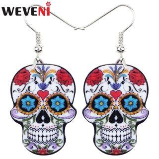 WEVENI Acrylic Dangle Drop Halloween Skeleton Skull Earrings Big Long Punk Fashion Jewelry For Girls