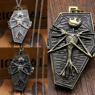 [GIN FOR FREE SHIPPING] Nightmare Before Christmas Antique Pocket Watch Quartz Necklace Vintage