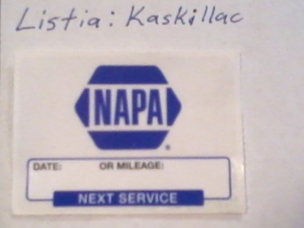 Free Napa Oil Change Reminder Decal Sticker Other Car Items